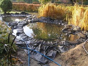 Декоративный пруд для дачи с пленочным покрытием