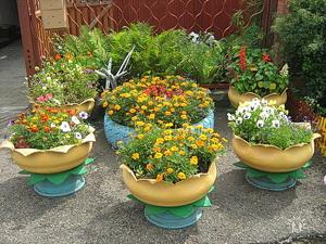 Вазоны для сада своими руками из покрышек